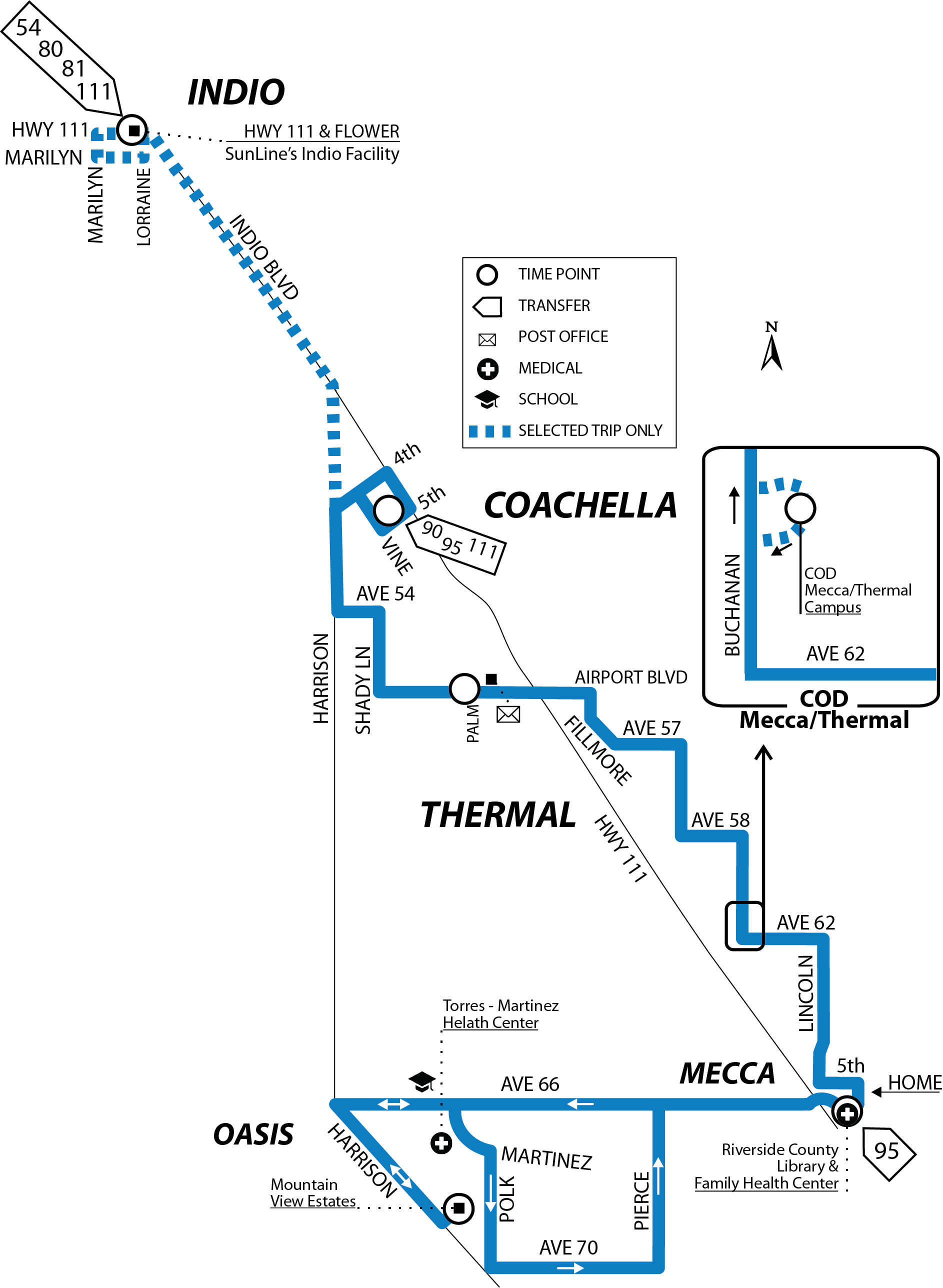 new line 91 map with select trips