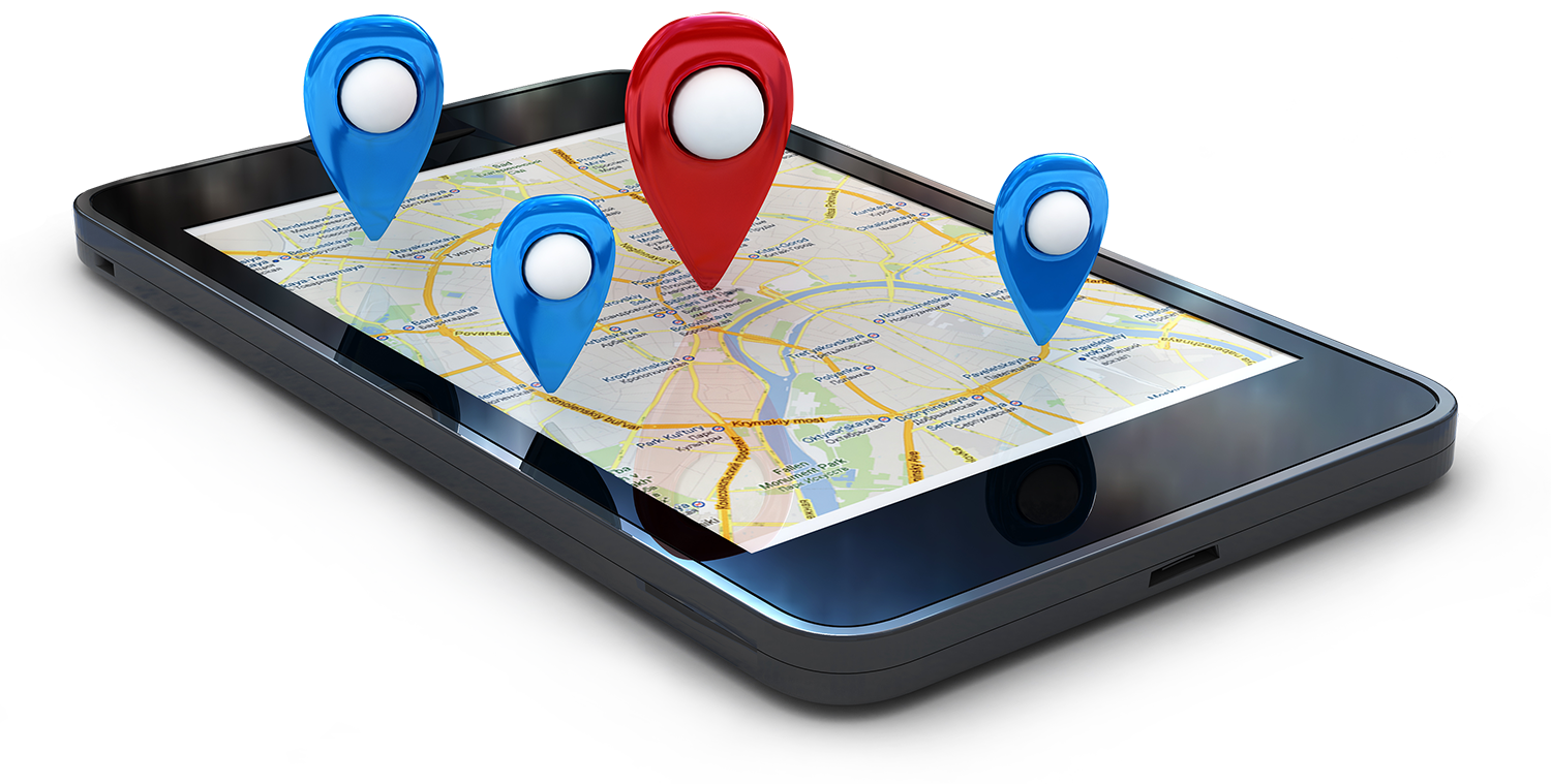 Smartphone with map displayed